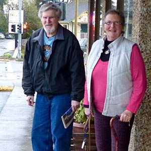 Gaye and Don Patterson going for a walk